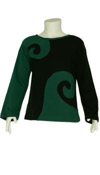 Spiraali shirt petrol-schwarz