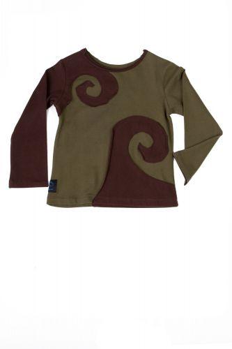 Spiraali shirt braun-olivegrün